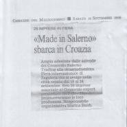 """16/09/2006 Corriere del Mezzogiorno: """"Made in Salerno"""" sbarca in Croazia"""
